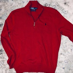 Polo Ralph Lauren red sweater with the zipper